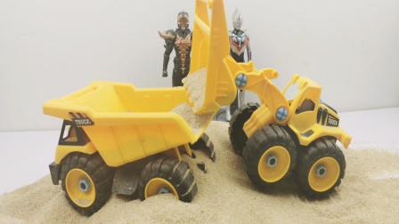 土方车与装载机模拟装沙子