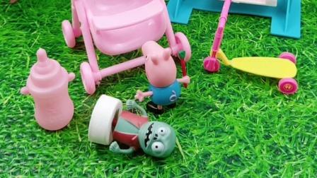 乔治抢了小鬼的婴儿车,还喝他的奶瓶子,乔治真淘气
