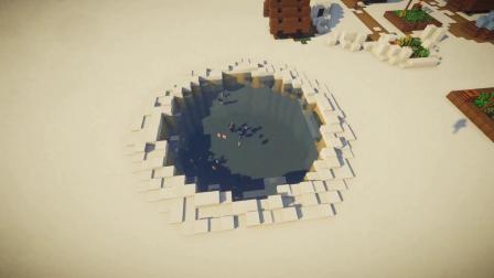 我的世界:制作超温馨的雪景屋,树下有池,睡前观鱼!