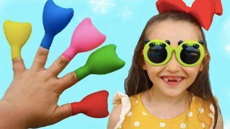 萌宝小女孩带着墨镜识别彩色气球