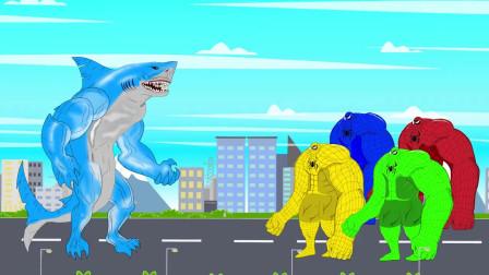 人鱼鲨以一敌四,单挑绿巨人兄弟 动漫特效