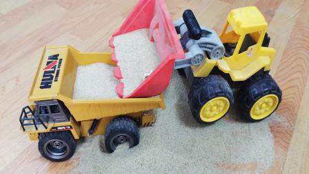 土方车和推土机装载沙子模拟