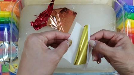 用七彩纸、史莱姆、口红给透泰染色,美丽又大方