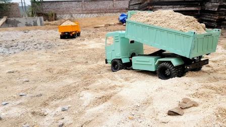 拆箱两款大型自卸车玩具,测试自卸车功能