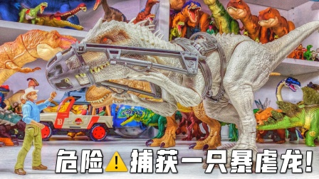 成功捕获一只暴虐龙!侏罗纪世界恐龙霸王龙奥特曼蜘蛛侠儿童玩具