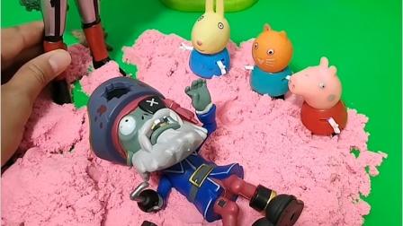 奥特曼打败了怪兽,把他放到沙里,还让小朋友打地鼠