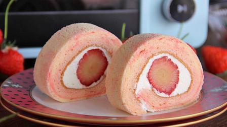 蓬松柔软,味道浓郁放入草莓牛乳蛋糕卷