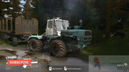 拖拉机4x4-驾驶越野重型运输木材