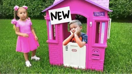 外国小萝莉的超级玩具屋,小正太全程陪着玩,童年生活就是该分享