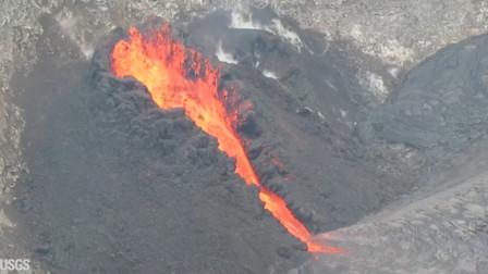 外国小伙航拍火山喷发过程,场面是壮观了,就是有点废无人机!