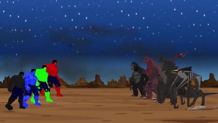 哥斯拉金刚和穆托激战绿巨人团队 动漫特效