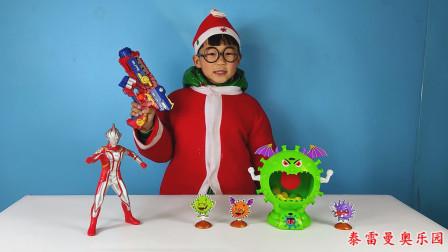 梦比优斯奥特曼给小泽变出蜘蛛侠小手枪,小泽用它打败了病毒玩具