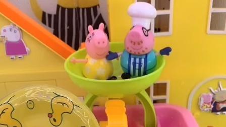 乔治带上游泳圈洗澡了,它的小伙伴们也来了,它们都有自己的游泳圈
