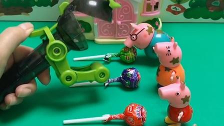 猪爸爸和猪妈妈都有糖,棒棒糖先生问它们要,它们都不给