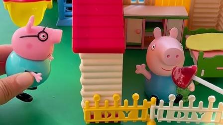 乔治在家吃糖,它听到猪爸爸在敲门,但它就是不给猪爸爸开门