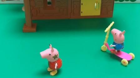 小妹妹看到乔治跑走了,它提醒佩琪,佩琪回头去找乔治