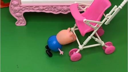 猪爸爸看乔治,自己却睡着了,巨人捡到乔治给送回来了