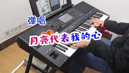 电子琴弹唱《月亮代表我的心》,好深情