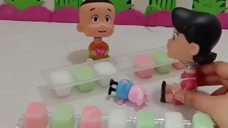 乔治想吃大头的果冻,大头不让,围裙妈妈把果冻送给了乔治!