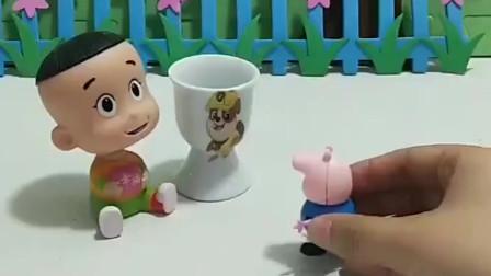 乔治羡慕大头的水杯,风暴哥哥给乔治买了一样的水杯,真好!