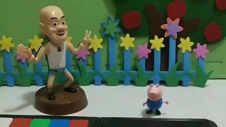 光头强要去砍树,乔治制止了光头强,乔治真棒!