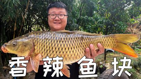 """88买一条8斤大鲤鱼,阿米做""""香辣鱼块""""香辣入味,鲜嫩下饭"""