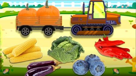 勤奋的拖拉机带来了好多蔬菜