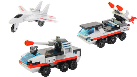 积木玩具拼搭军用炮弹发射卡车
