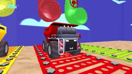 少儿动漫:看玩具车辆动画认识各种色彩