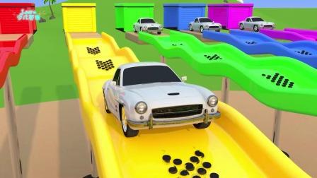 少儿动漫:看玩具车辆与滑梯认识各种色彩的英语单词