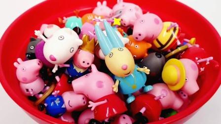 满满一盆的小猪佩奇可爱公仔 粉红猪小妹玩具