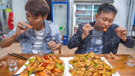 喝老白干就得吃这菜,用高压锅压大肠辣椒爆海虾,别提多爽了
