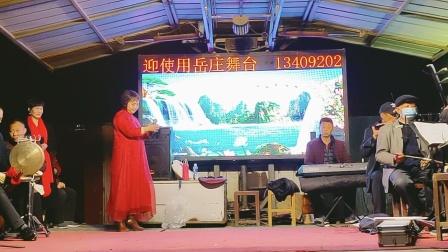 在纪念民族英雄岳飞诞辰928周年文艺演唱会上,获嘉县王世英女士演唱豫剧选段。