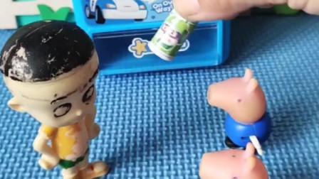 小猪佩奇乔治想买饮料,发现没老板,不料是自动的