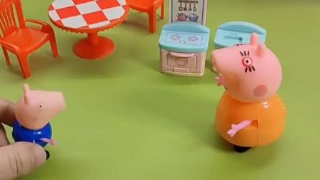 猪爸爸心里不平衡,猪妈妈对乔治很温柔,对他却很凶