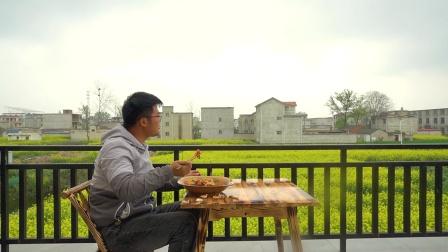 农村老家第一顿早餐,美景配美食,小盘鸡拌面竟然如此美味