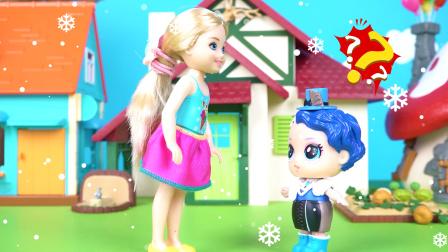 芭比下雪天穿裙子,娃娃惊呆了