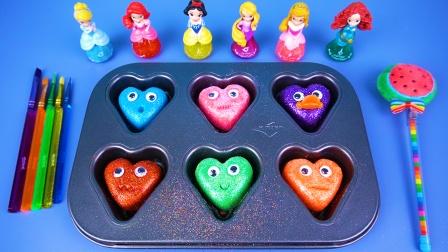 彩泥和亮晶晶闪粉一起制作爱心娃娃