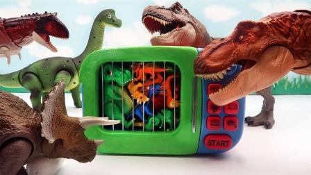 恐龙玩具故事:好有趣!恐龙蛋放在微波炉里发生什么变化呢?