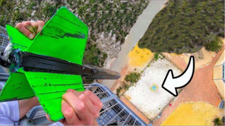 在45米高空丢下巨型飞镖,能将防弹玻璃刺穿吗?冲击力太可怕!