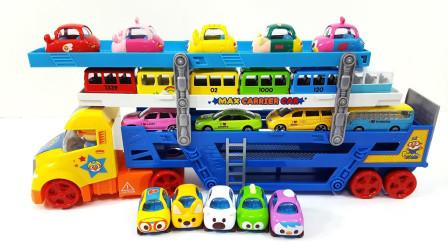 多层运输车带来彩色小汽车玩具