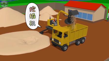 挖掘机把沙土装载在翻斗车上,翻斗车运送沙土