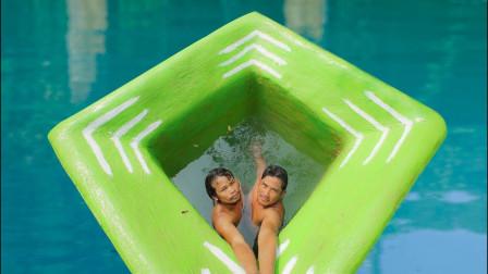 牛人高调炫技,徒手打造神秘泳池,进出方式太惊人!