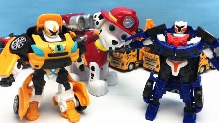 汪汪队毛毛带来托宝兄弟变形机器人 变形金刚玩具