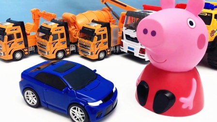 小猪佩奇带来托宝战士Y变形机器人 变形金刚玩具
