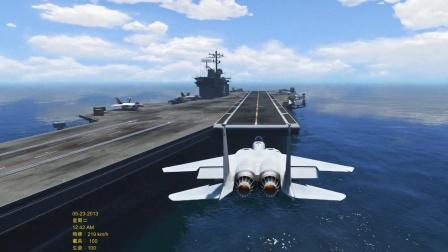 F15战斗机降落航母失败了