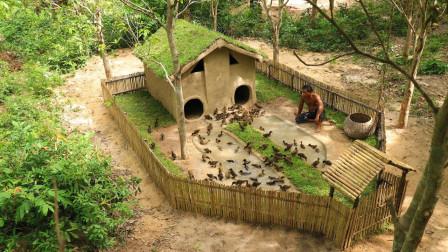 牛人为了饲养500只鸭子,野外挖出小豪宅,成品太惊艳了!