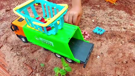 垃圾收集车和大铲车玩具