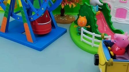 佩奇和乔治一起去了游乐园,他们还坐上了摩天轮,又是开心的一天