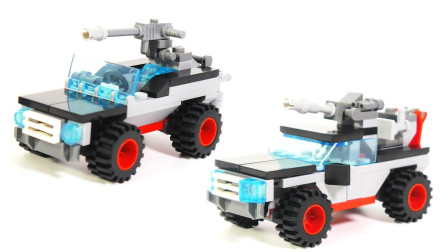 拼搭各种军用车积木模型